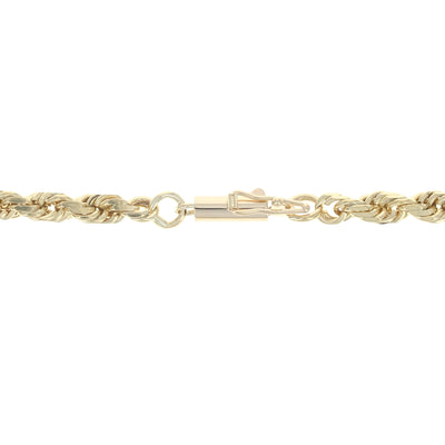 Diamond Cut Rope Chain Necklace Yellow Gold