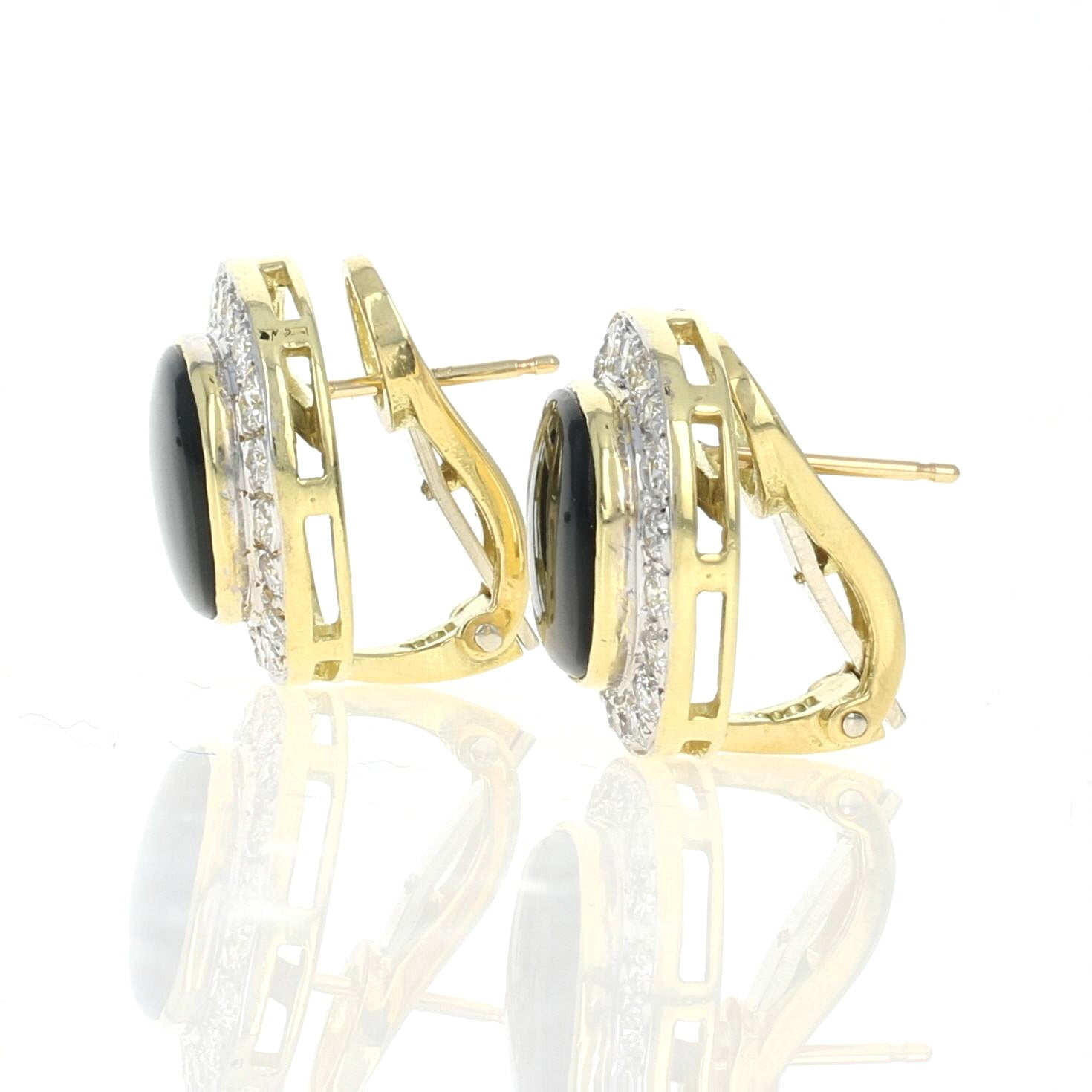 Onyx & Diamond Halo Earrings Yellow Gold