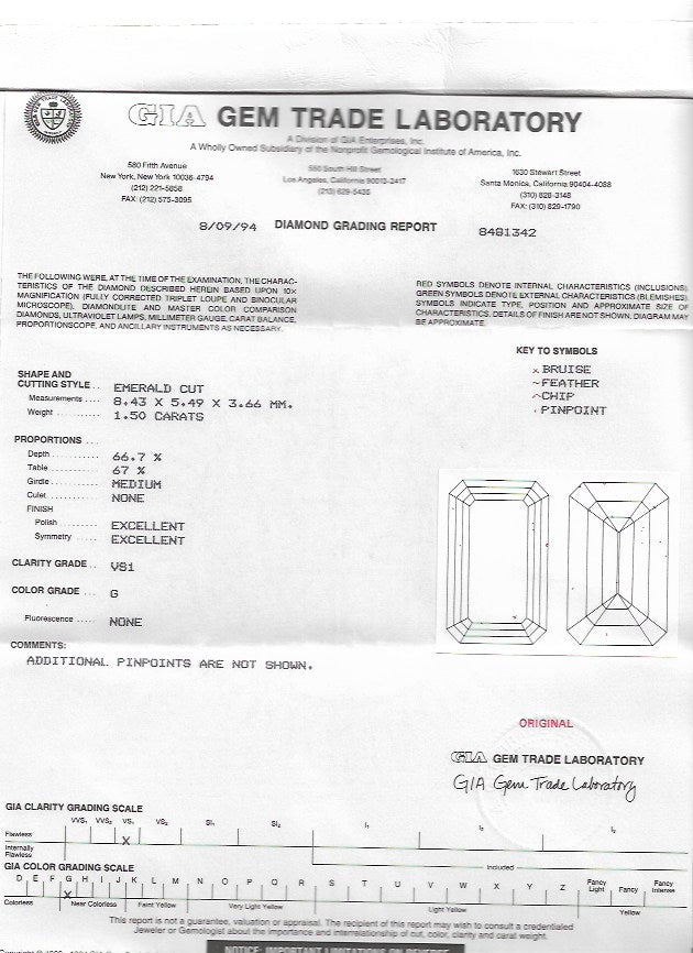 1.50ct Emerald Cut Loose Diamond Emerald GIA