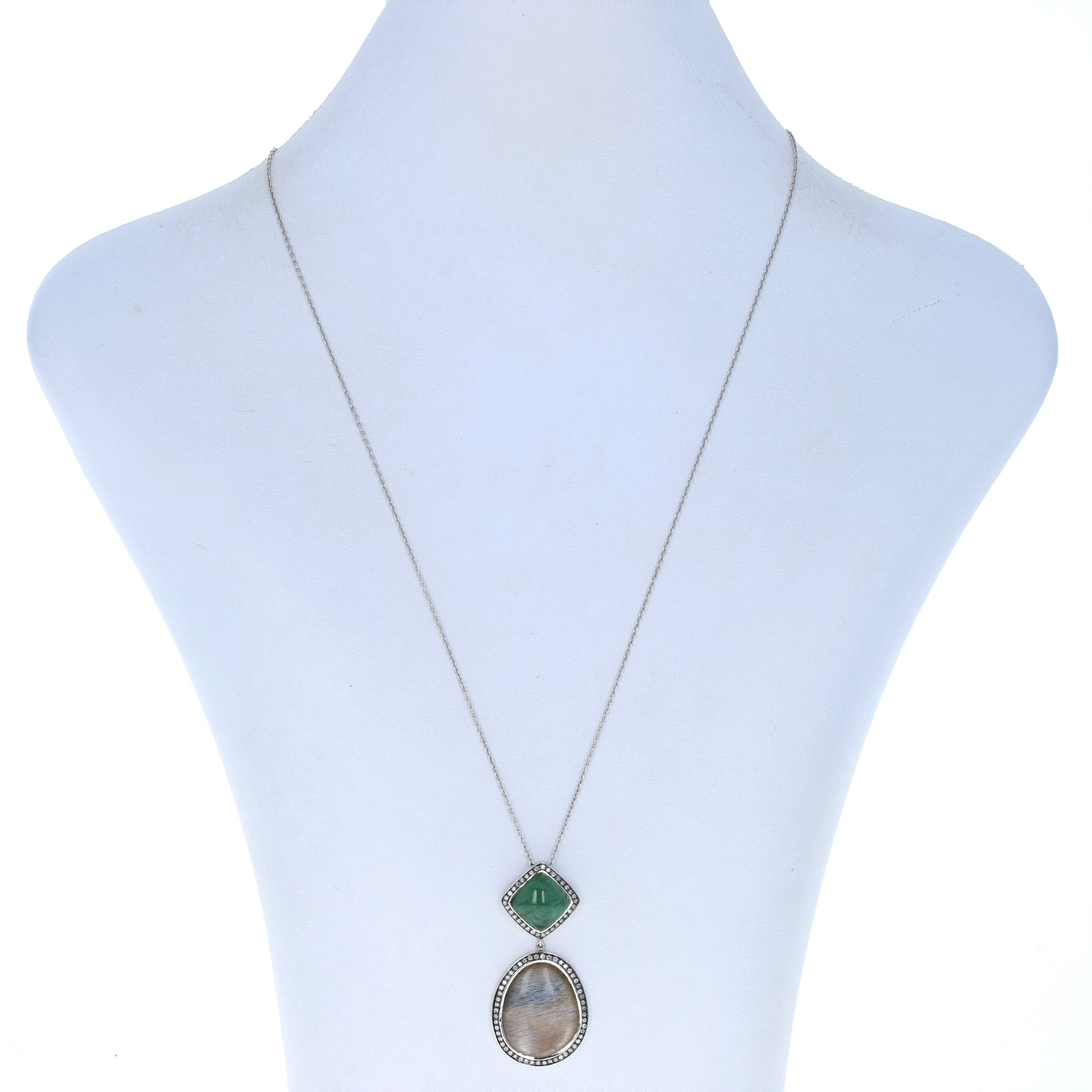 5.20ct Moonstone, Emerald, & Diamond Necklace White Gold