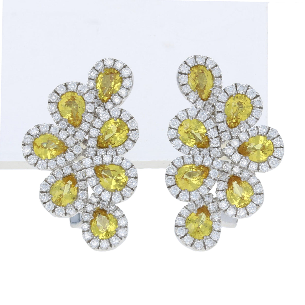 Pear Cut Yellow Sapphire & Diamond Earrings