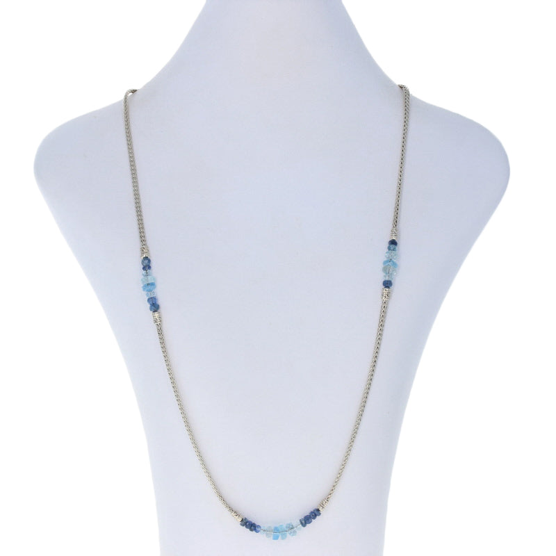 John Hardy Classic Chain Aquamarine & Kyanite Necklace Sterling Silver