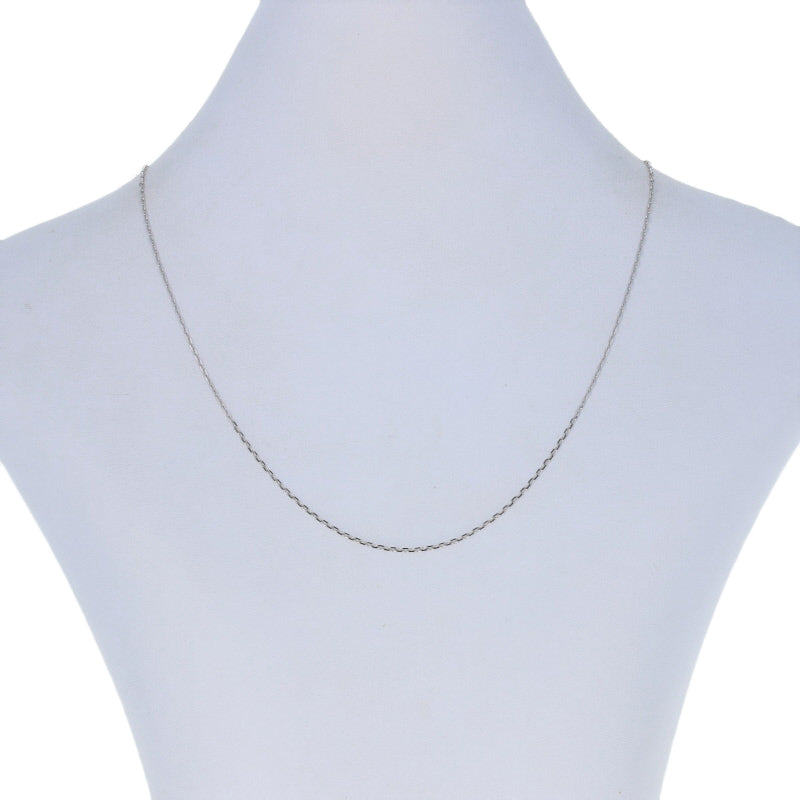Diamond Cut Cable Chain Necklace White Gold