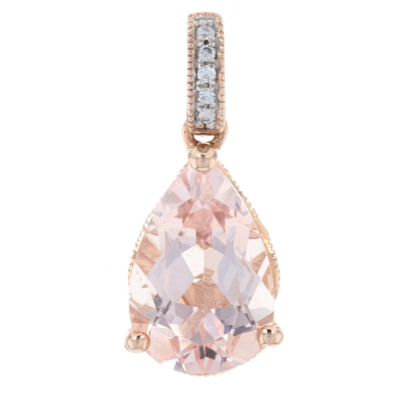 2.25ct Morganite & Diamond Pendant Rose Gold