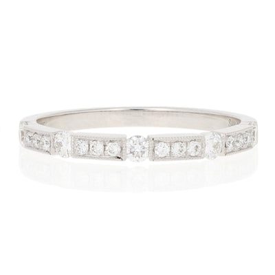 Diamond Milgrain Wedding Band .32ctw