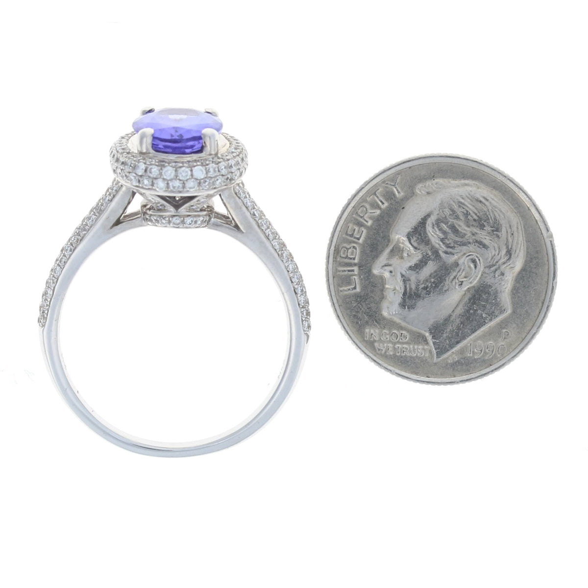 1.75ct Tanzanite & Diamond Ring White Gold
