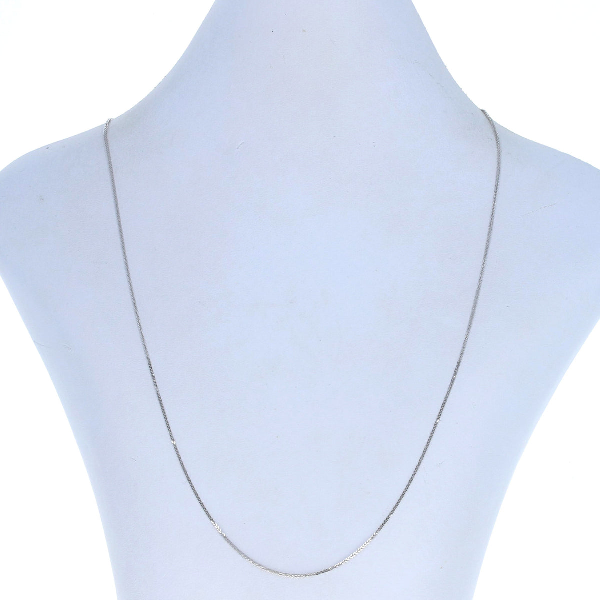 Diamond Cut Squared Wheat Chain Necklace White Gold