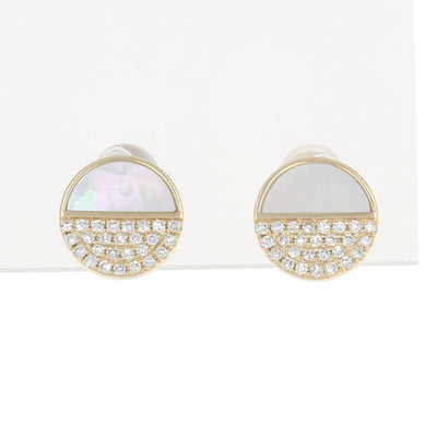 Mother of Pearl & Diamond Earrings Yellow Gold