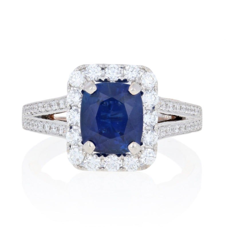 Cushion Cut Sapphire & Diamond Ring 3.34ctw
