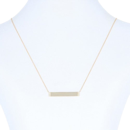 Diamond-Accented Engraveable Bar Necklace