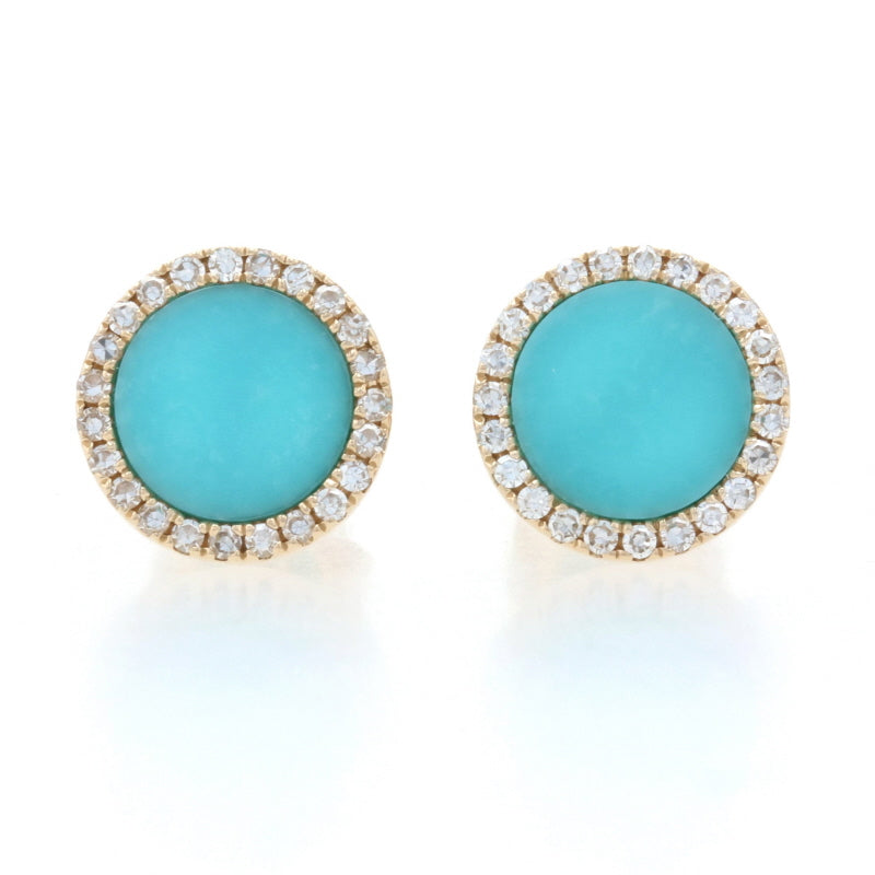 Turquoise & Diamond Earrings Yellow Gold