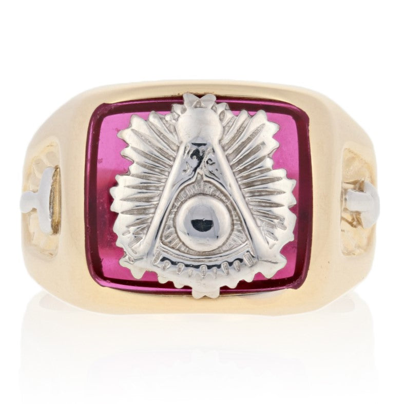 Blue Lodge Past Master Synthetic Spinel Ring Yellow Gold