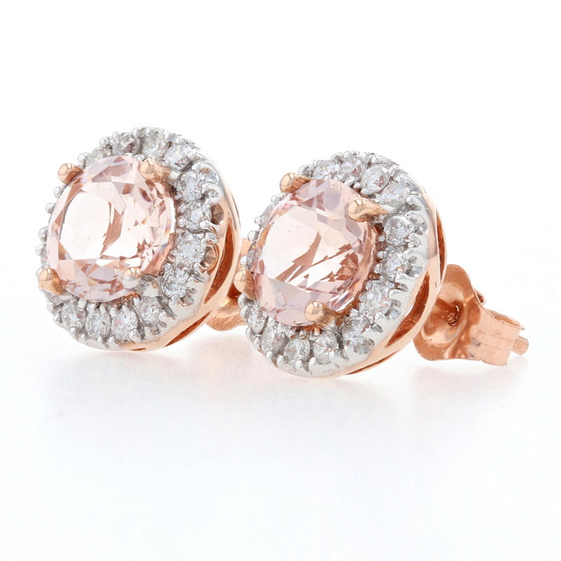 1.20ctw Morganite & Diamond Earrings Rose Gold