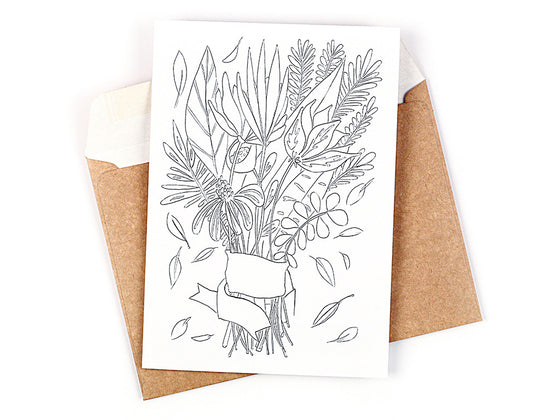 Flower Bouquet Colouring Greeting card