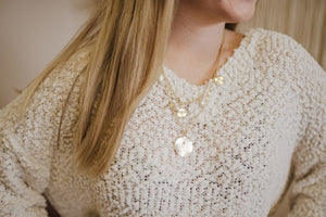 Gold Pearl Two Chain Necklace