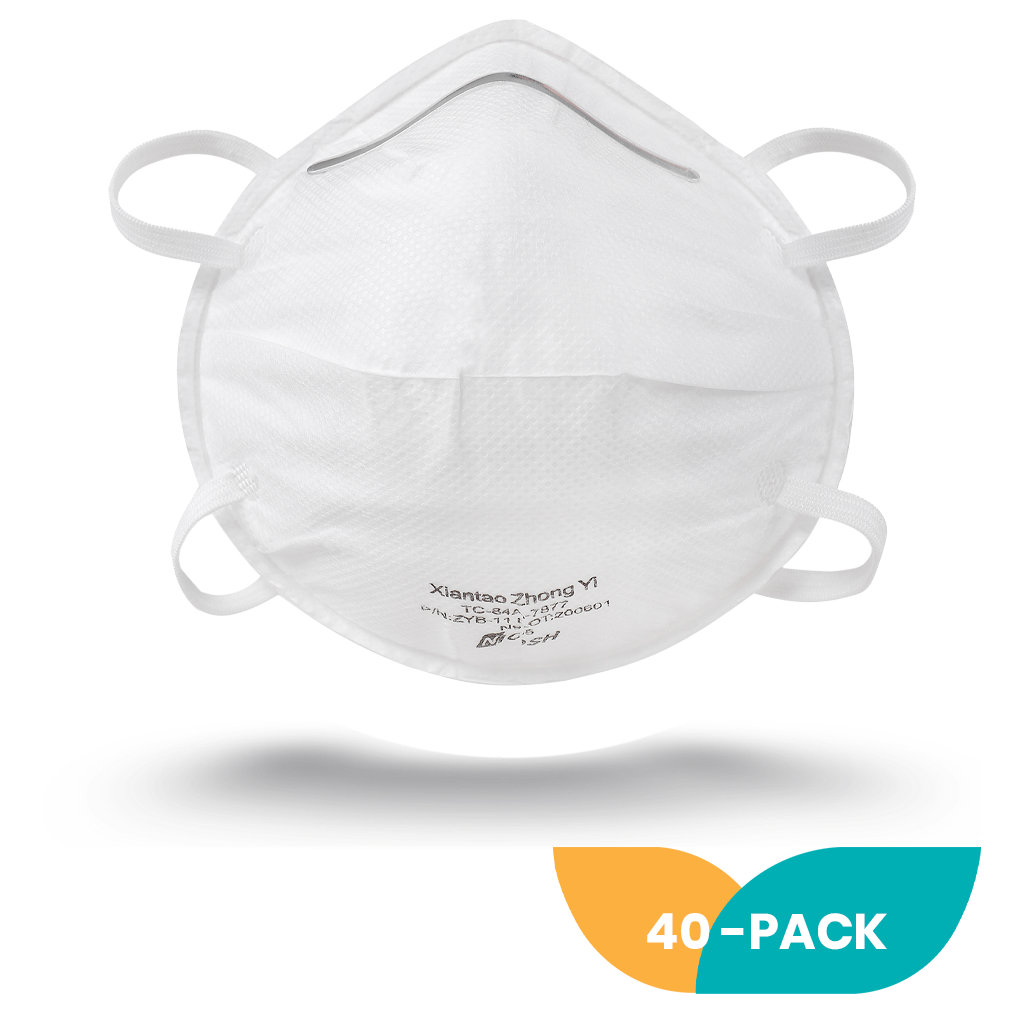 NIOSH Cup Style N95 Respirator Mask - 40 Pack