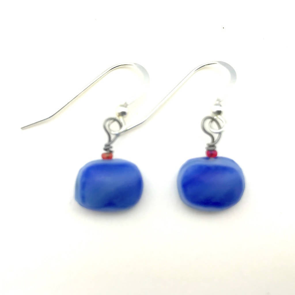 Dangle Earrings -- Upcycled Opaque Blue Glass
