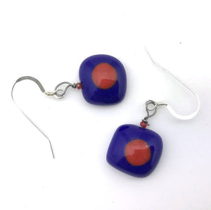 Red Dot Earrings - Cobalt