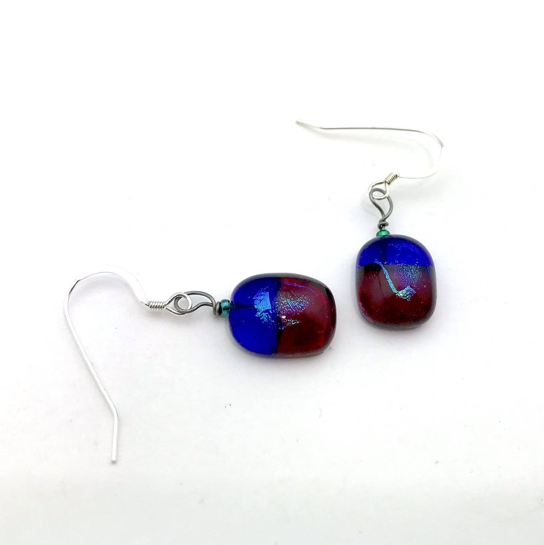 Cobalt & Red Translucent Earrings