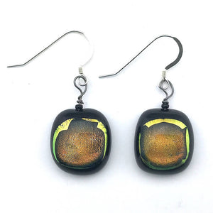 Fused Glass Earrings - Black w Gold Center