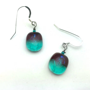 Red & Teal Translucent Earrings
