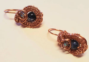 Copper wire non tarnish earrings with Sodalite and Swarovski crystal