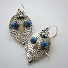 Load image into Gallery viewer, Silver And Lapis Skull Earrings
