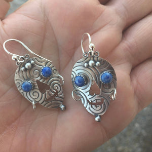 Silver And Lapis Skull Earrings