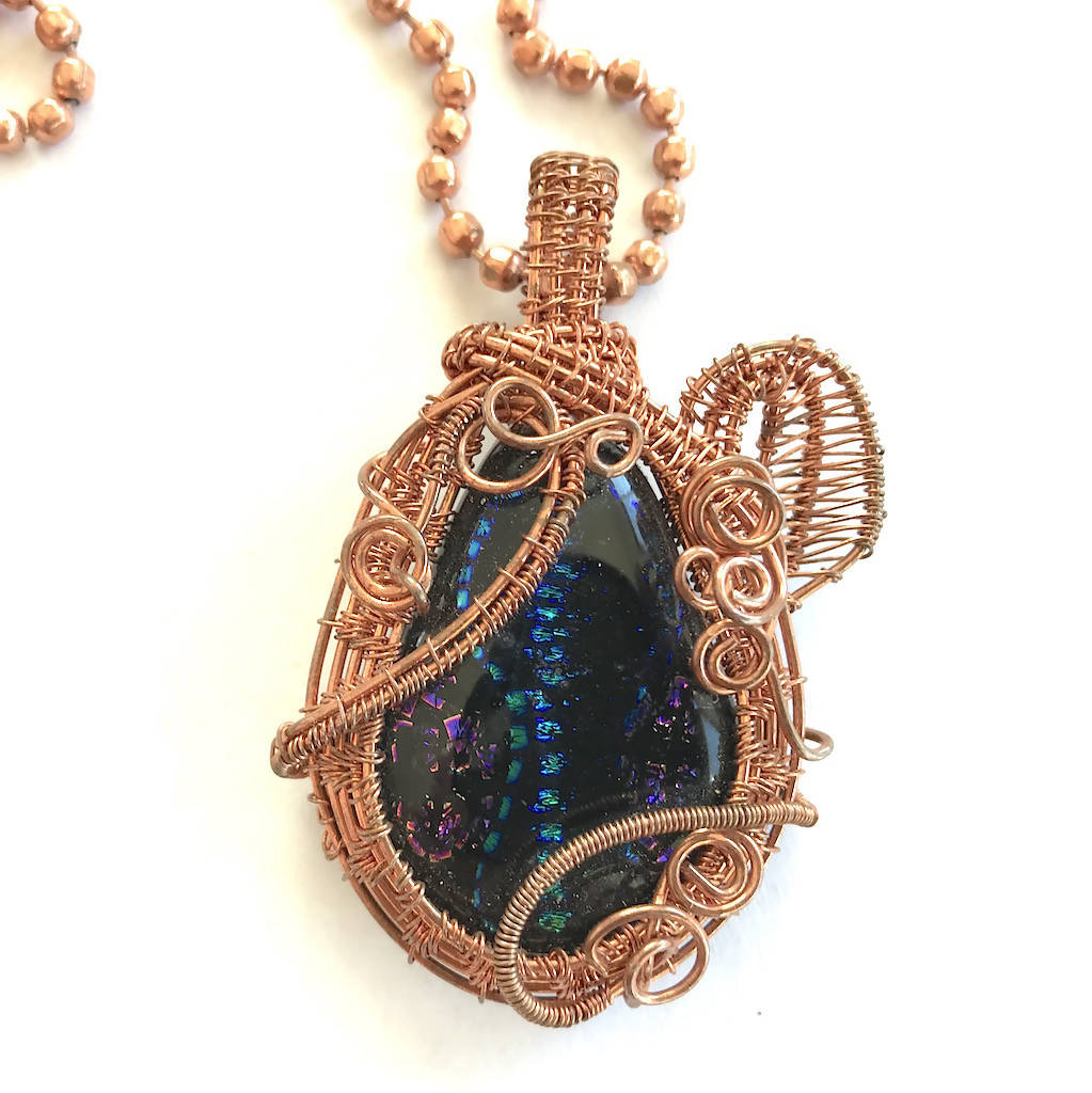Copper-woven Fused Glass Necklace