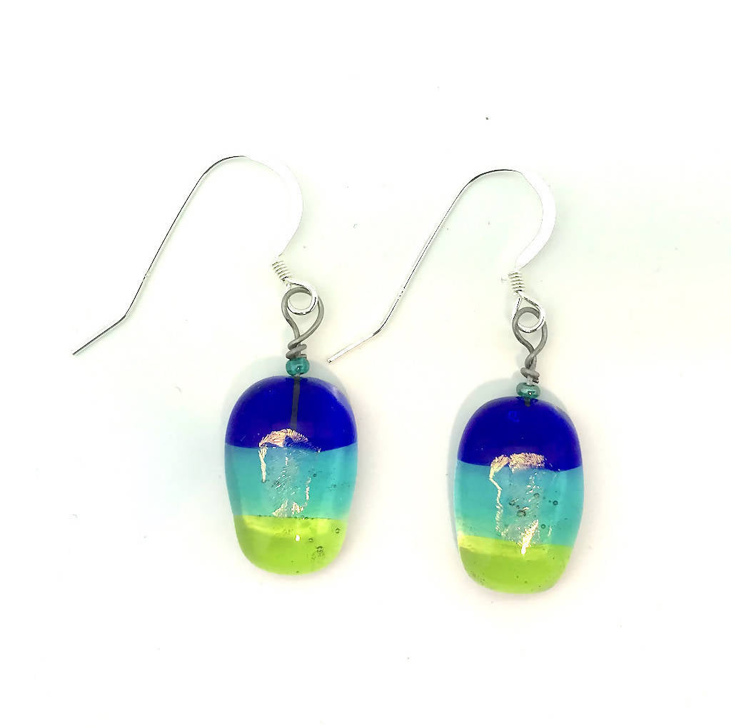 Cobalt, Teal & Lime Translucent Earrings