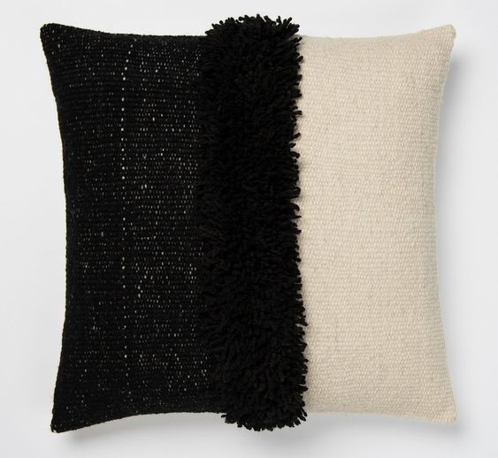 Puna Half Black Handwoven Pillows