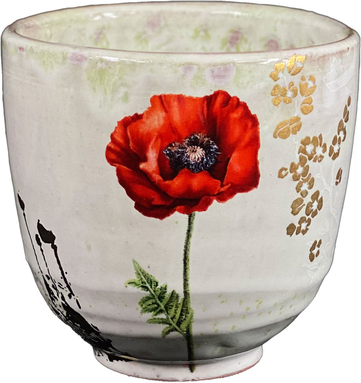 Ceramic Cups with Poppy Decals