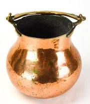 Antique Large Turkish Copper Pot w Brass Handle