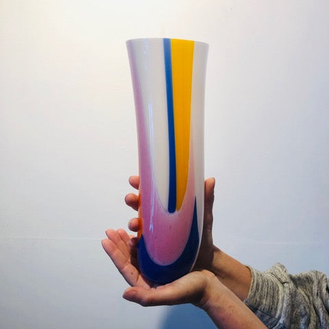 Large Hand Formed Colored Glass Vase
