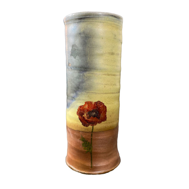 Wood Fired Vases With Poppy Decals