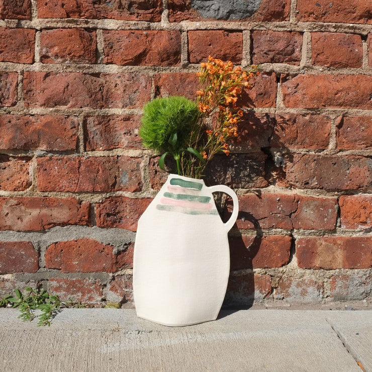 Tall Pitcher with Scribbles and Stripes