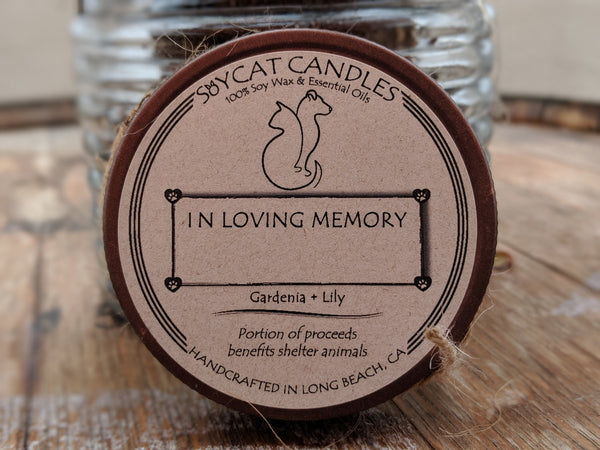 Pet Memorial Cat Size Candle (8oz)