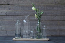Load image into Gallery viewer, Wood Tray w/5 Glass Bottle Vases