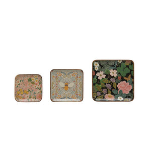 Square Enameled Acacia Wood Trays w/ Florals & Bee