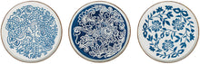 Load image into Gallery viewer, Blue & White Hand-Stamped Stoneware Dinner  & Salad Plates with Rim