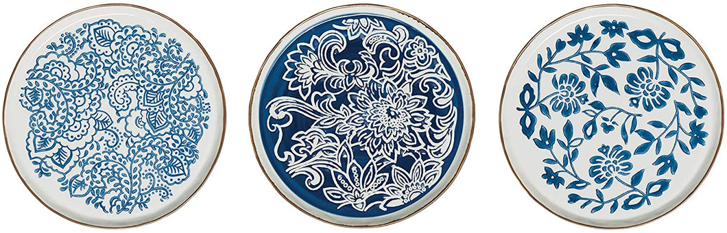 Blue & White Hand-Stamped Stoneware Dinner  & Salad Plates with Rim