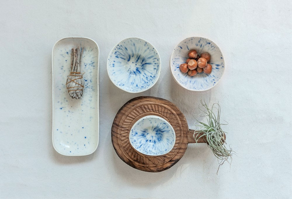Blue & White Ceramic Small Platter and Bowls