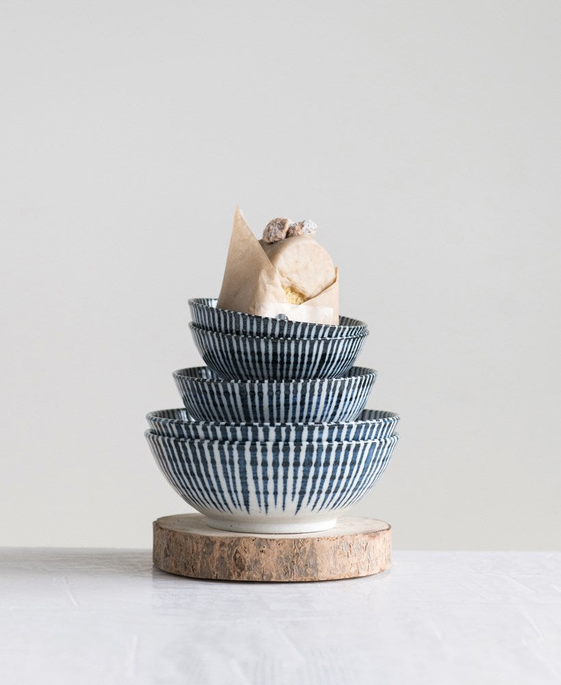Blue & White Stripe Porcelain Bowls