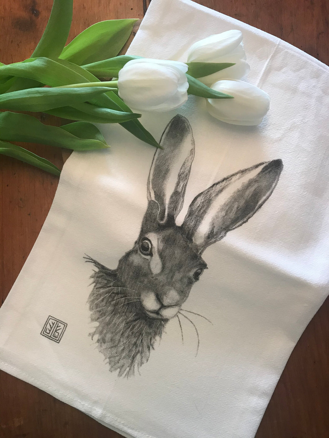 Bunny Tea Towel by Jennie Blue