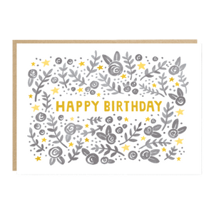 Happy Birthday -  Gray Floral Birthday Card