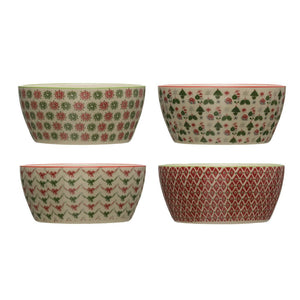 Holiday-Christmas Stoneware Bowls 4 Styles