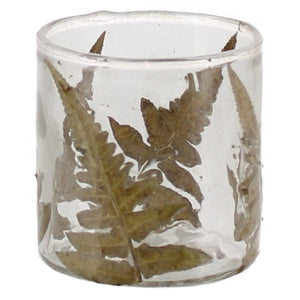 Enameled Fern Hurricane Luminary or Vase