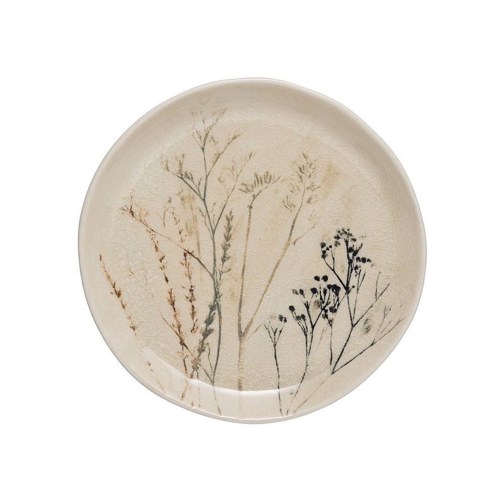 Stoneware Floral Plates