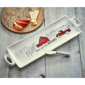 Winter Sketches Home for the Holidays Platter & Spreader Set