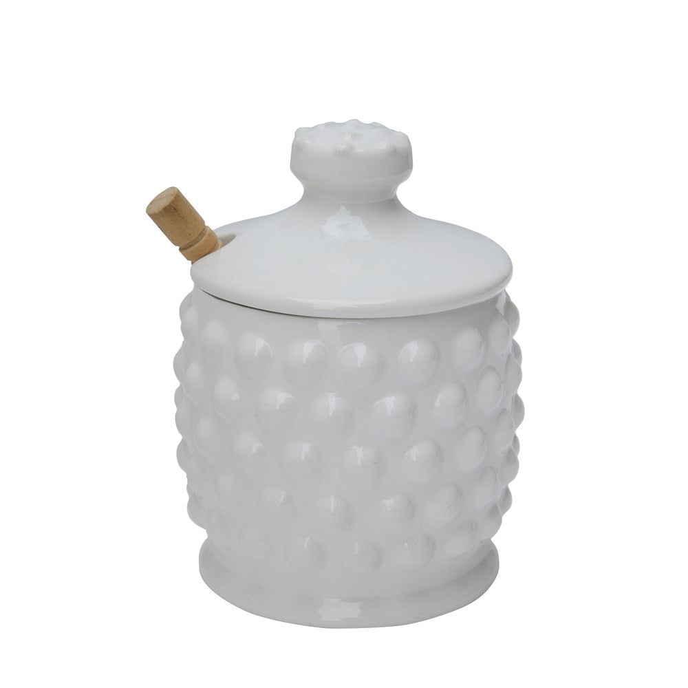 Hobnail Honey Jar with Wood Honey Dipper